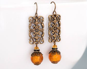 Pumpkin Orange Murano Glass Earrings, Orange Glass Jewelry, Brass Filigree Earrings, Venetian Bead Jewelry, Orange Bead Earrings, Fajra