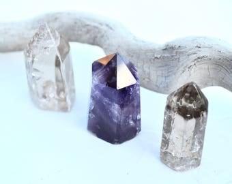 Healing Crystal Set //  Amethyst Obelisk, Smokey Quartz Points // Reiki Meditation Energy Work Chakra Balance Therapy Balance Ceremony