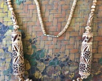 Pretty Vintage Ethnic Nigerian Tribal Carved Bone Necklace in Shades of Mocha