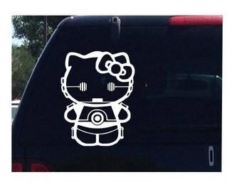 C3PO Hello Kitty Star Wars Car Decal