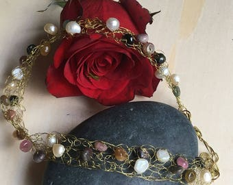 Hand Knitted Wire Choker with Gemstones
