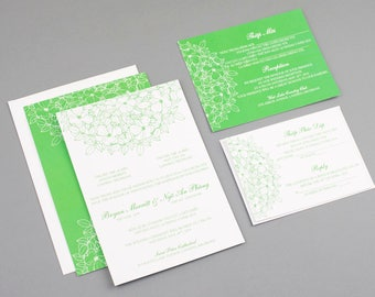 printable bilingual vietnamese wedding invitation set invitation reception and rsvp phung green flowers - Vietnamese Wedding Invitation