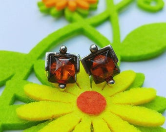 Sweet Natural Genuine Amber & Sterling Silver Post Back Stud Earrings- Rustic Square Handmade Hippie Boho Earthy