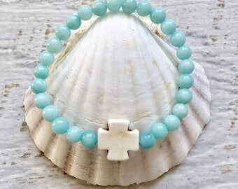cross bracelet, beachcomber boho jewelry,
