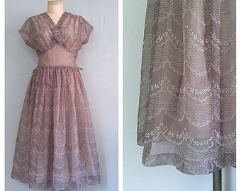 Garden Party dress | 1940s flocked dress | 40s vintage gown | m-l