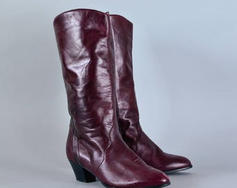 Vintage Women's Burgundy Leather Heeled Knee Calf Boots UK 4.5 EU 37.5 US 6.5