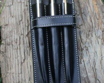 Triple Vegetable Tan  Leather (3) Pen Case, Black