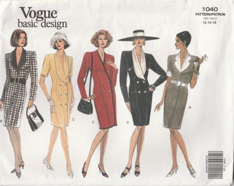 Early 90s Dress Pattern Vogue 1040 Sizes 12 14 16 Uncut
