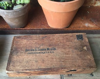 Brown & Sharpe Mfg. Co. Wooden Micrometer Box with Sliding Lid, Providence, Rhode Island