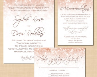 Rose Gold Sparkles Wedding Invitation RSVP, Information Insert Bundle, Text-Editable in Microsoft® Word, Printable Instant Download