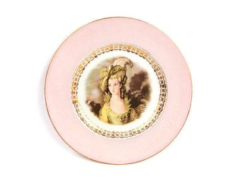 Vintage Royal Staffordshire England Lady Portrait Plate Signed Joh Peters Gainsborough Lady Pink and Green Cabinet Plate
