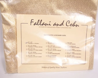 Vintage Gold Metallic Tablecloth Fallani and Cohn Gold Lame Tablecloth 52 x 52 Table Topper Holiday Tableware Christmas Table Linen