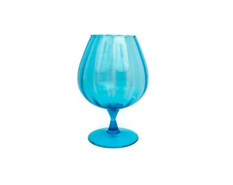 Vintage Turquoise Glass Brandy Snifter Large Teal Blue Goblet Ribbed Design Hand Blown Italian Glass Retro Art Glass Decor Pedestal Vase