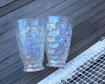 """2 Vintage Federal Glass 5 1/4""""Tumblers; Iridescent Rainbow-Reflective Drinking Glasses' 'Thumbprint' Pattern"""