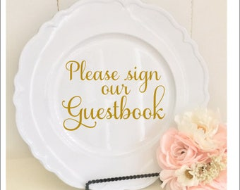 Please Sign Our Guestbook Decal Small Wedding Decal Wedding Decor DIY Sign Decal for Chalkboard Guestbook Decal Guestbook Vinyl Fancy Vinyl
