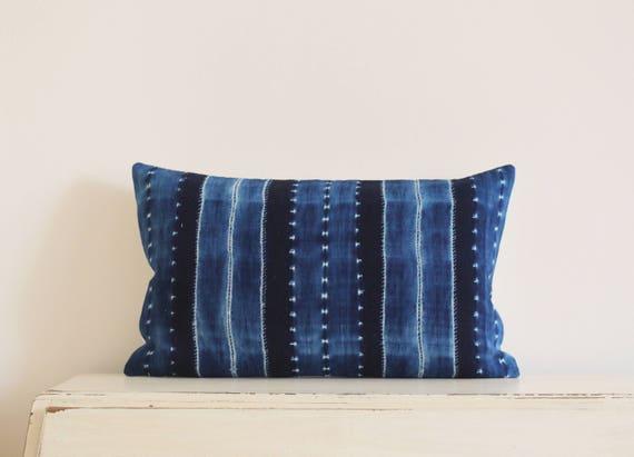 "Indigo Shibori pillow / cushion cover 12"" x 20"""