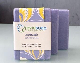 captivate - summer breeze - Sea Salt Soap, Cold Process Soap, Handmade Soap, EvieSoap, vegan soap, palm free soap, free shipping