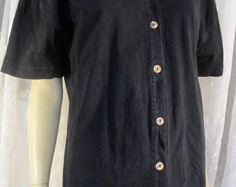 Vintage 90's black cotton SS camp shirt S