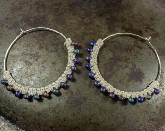 Tribal Earrings, Macrame Earrings, Beaded Hoop Earrings, Sterling Silver Hoops, Ethnic Earrings, Sterling Silver Hoop, Big Hoop Earrings
