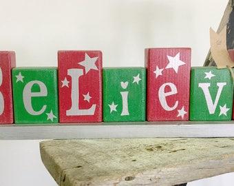 Believe - wooden blocks