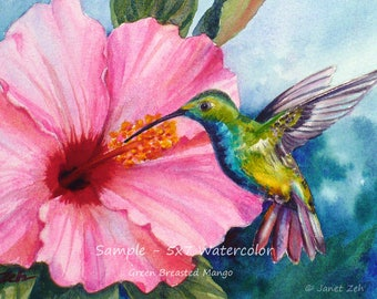 Custom bird watercolor or oil painting, Unique commissioned wall art gift, Bird lover nature wall decor by Janet Zeh Original Art