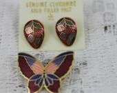 Vintage Cloisonne Earrings and Brooch New Old Stock