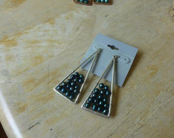 Silver and Teal Freshwater Earrings