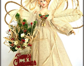 angel tree topper rustic woodland christmas angel treetop nature inspired christmas decoration ooak - Christmas Angel Tree Topper