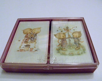 Vintage Hallmark Betsey Clark Bridge Playing Cards 2 Decks Set in Hard Case New SEALED DECK CARDS