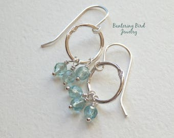 Apatite Cluster Earrings with Fine Silver Hoops, Blue Semi-Precious Gemstone, Sterling Silver Fine Artisan Jewelry, Unique Gift for Woman