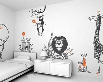 Savannah Africa Kids Large Decal Design Theme Pack - Wall Decals Vinyl Decor Art Sticker Removable Mural Modern