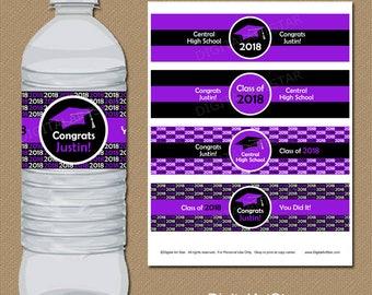 Graduation Party Decorations - 2018 Graduation Water Bottle Labels - College Graduation Party Printable Purple and Black Grad Party Ideas G1