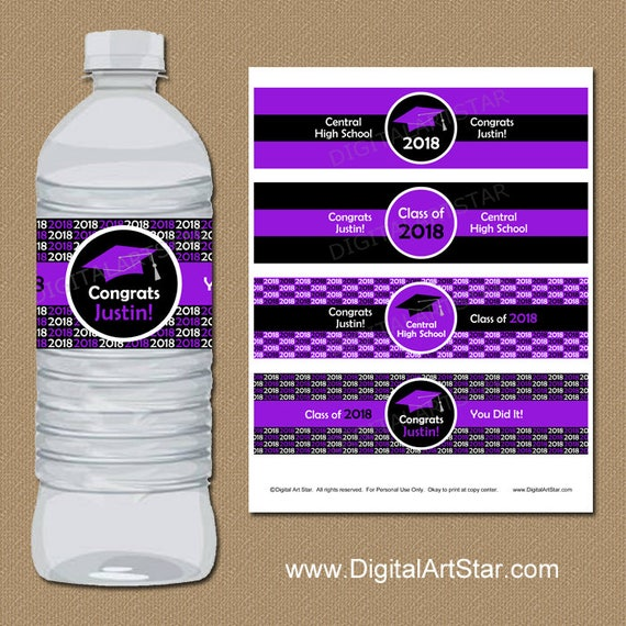 Graduation Party Decorations   2018 Graduation Water Bottle Labels