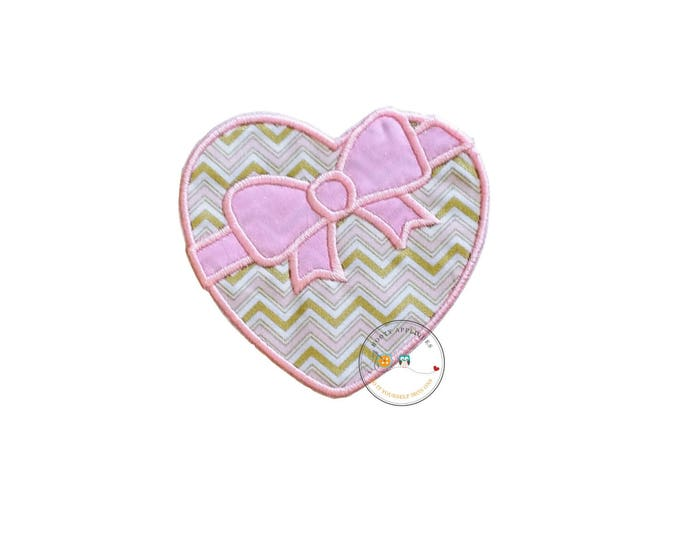 heart shaped candy box iron on applique, pink and gold Valentine's day box of candy patch, ready to ship iron on patch for kids