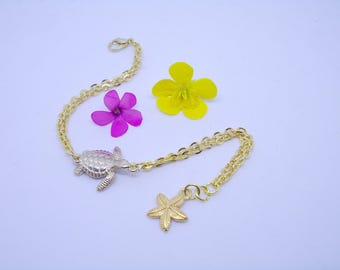 Turtle bracelet gold. Starfish charm. Golden sea star bracelet. Sea turtle. Double chain bracelet. Beach. Summer.