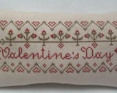 Valentine Primitive Cross Stitch Mini Pillow