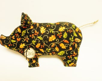 Leaf Print Fabric Pig - Made To Order, Fall Decor, Primitive Pigs