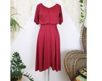 70s Disco Dress, Maroon vintage party dress Dancing dress Midi dress Tulip hem Draping layered bodice, XS-S 3764
