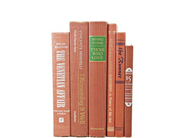 Burnt Sienna Decorative Books, Antique Book Set, Wedding Decor, Brown Orange Old Books, Home Decor PHoto PRop Interior Design Bookshelf
