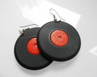 Hip Hop Earring/ Record Earrings/ 90s Club Kid/ Hip Hop Jewelry/ Record Player/ Vinyl Record Earrings/ Music Earrings/ Musical Earrings