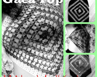 Gaea Goddess Top Crocheted by VLA Designs - Halter Top, Granny Square, Festival Top, Hippie wear, Bohemian, Summer Beachwear Burner Hooper