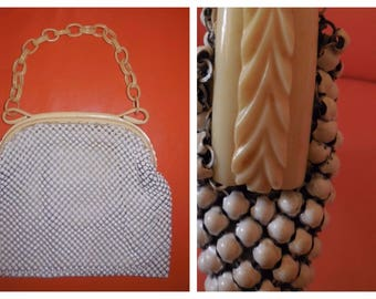 Vintage 1930s 40s Purse Cream Metal Mesh Purse Whiting and Davis Carved Celluloid Chain Handle Art Deco Alumesh Rockabilly Flapper M
