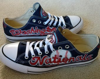 Hand Painted Baseball Shoes-Personalized Team Shoes-Baseball Fans-Converse-Slip On Shoes-Vans-Washington Nationals-All Sports Teams-