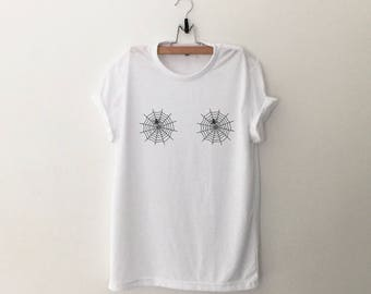 halloween t shirt spider web boobs funny shirts t shirts fall gift tumblr tshirt graphic - Scary Halloween Shirts