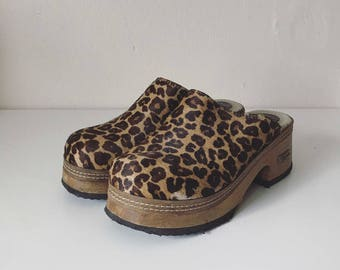 Vintage Leopard Print Pony Hair Clogs