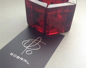 Fabulous Carlos Sobral, Resin Bangle Stretch Bracelet, Jackie Brazil, red clear resin, handmade beads, stretch bracelet, Greece