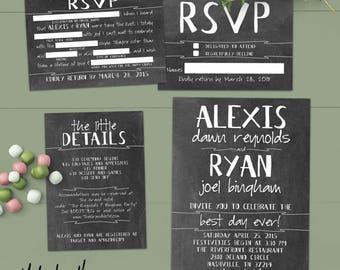 Funny Chalkboard Wedding Invitation Set - RSVP Madlib (Postcard Option) Best Day Ever - Printed Suite No. 120