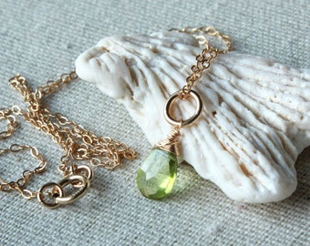 Peridot Pendant Necklace, Goldfilled wire wrap, lime green gemstone charm, petite pendant, August birthstone, holiday gift for her, 4469