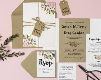 Wedding Invitation Suite - 'Bloom' Wedding Stationery Invitation Set - Custom Invitation - Wedding Invitations - Invitations