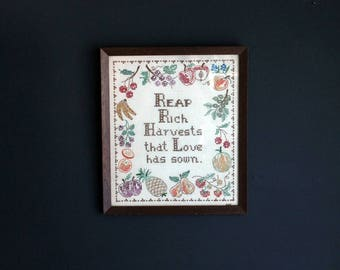Vintage Cross Stitch Autumn Home Decor Framed Shabby Chic Wall Art Hand Made Read Rich Harvests That Love Has Sown